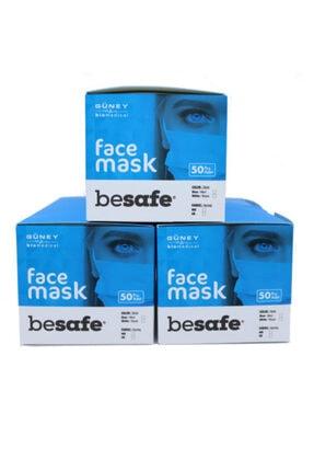 Besafe Be Safe Full Ultrasonik Cerrahi Maske 3 Katlı Meltblown Kumaş 150 Adet - Burun Telli