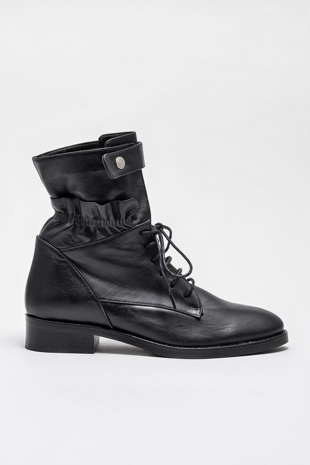 Elle Shoes ROOSETTE Hakiki Deri Siyah Kadın Bot 1