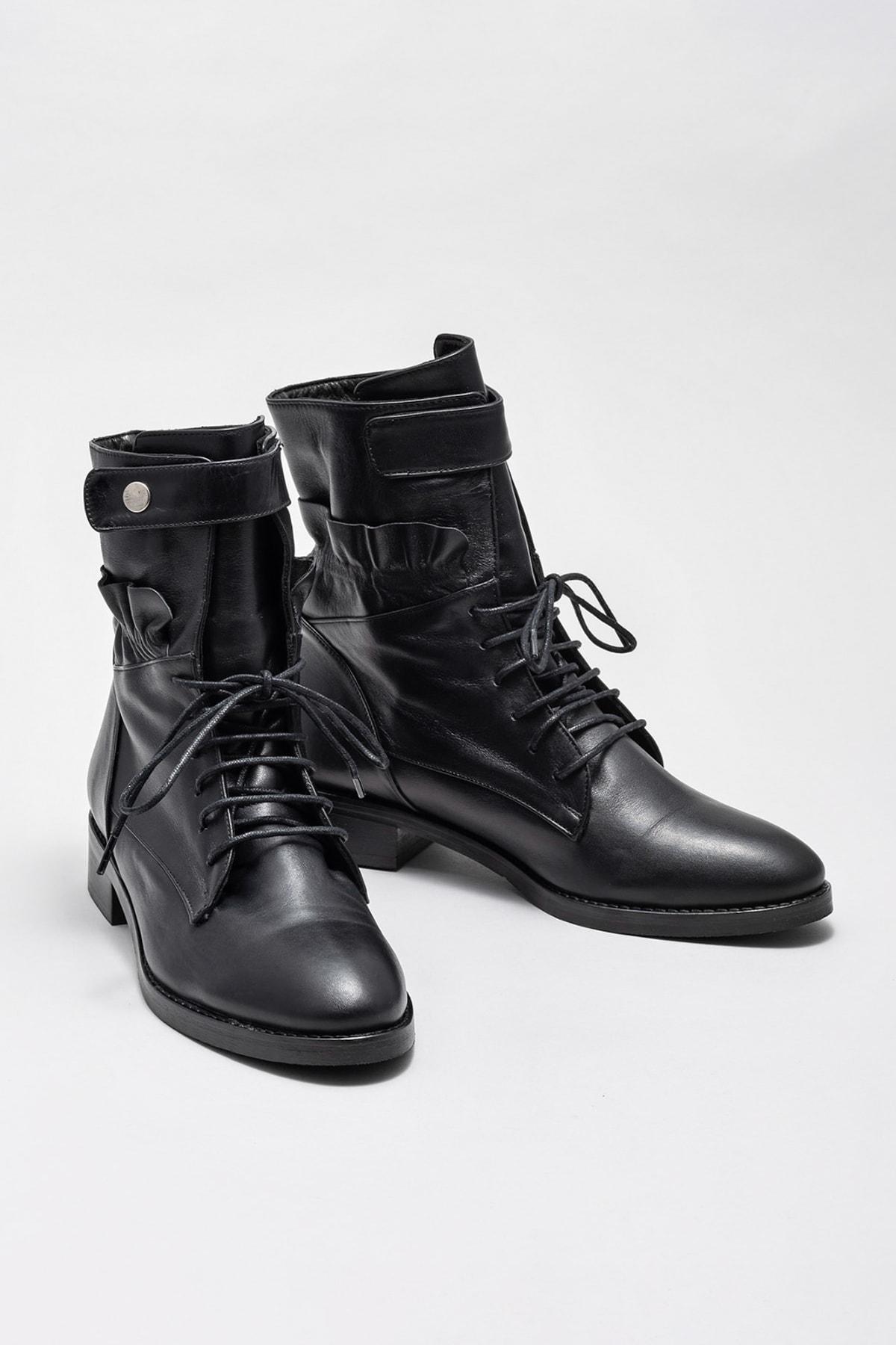 Elle Shoes ROOSETTE Hakiki Deri Siyah Kadın Bot 2
