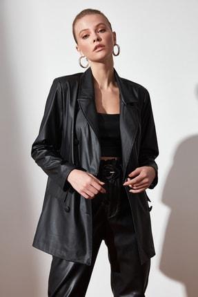 TRENDYOLMİLLA Siyah Cep Detaylı Suni Deri Blazer Ceket TWOAW21CE0156