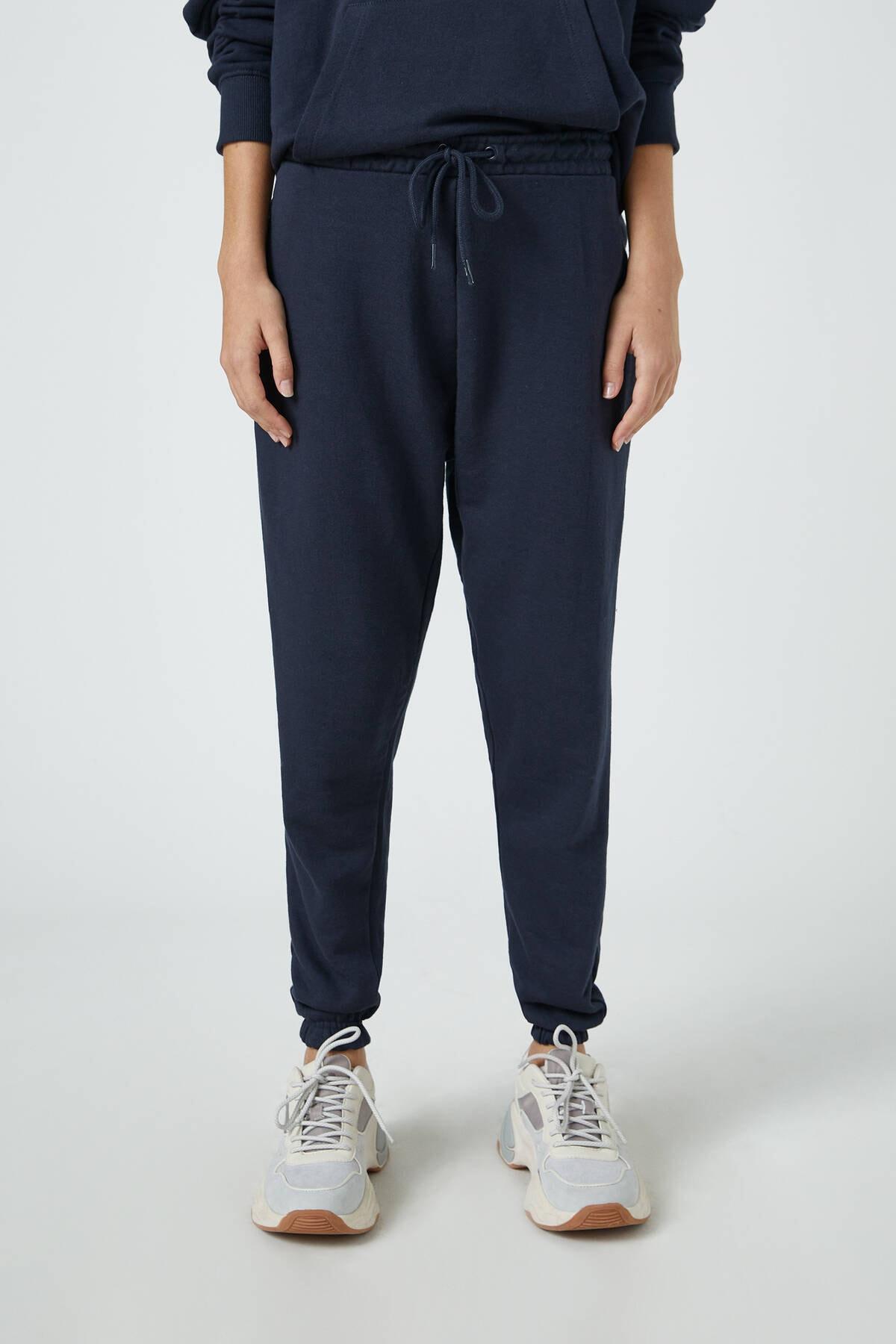 Pull & Bear Kadın Lacivert Elastik Paçalı Basic Jogger Pantolon 09678407 2