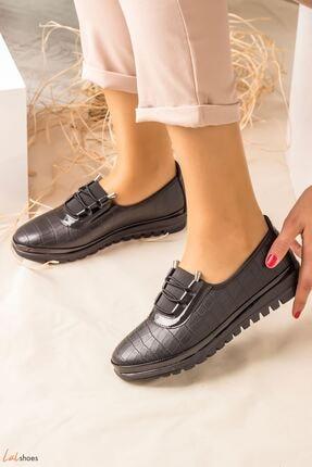 LDÇ Areca Parlak Kroko Bayan Ayakkabı-siyah