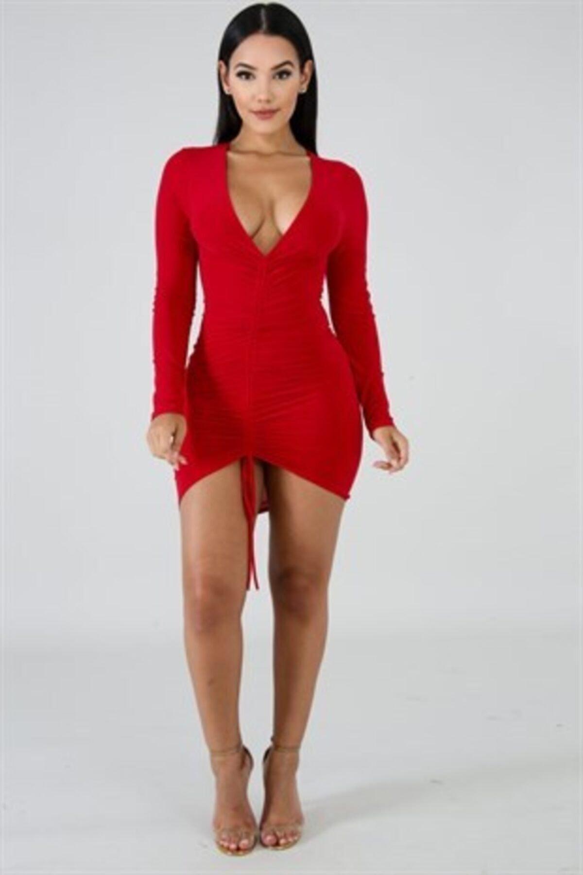 bayansepeti Kadın Kırmızı Esnek Sandy Kumaş Göğüs Dekolteli Bağcık Detaylı Mini Gece Elbisesi 2