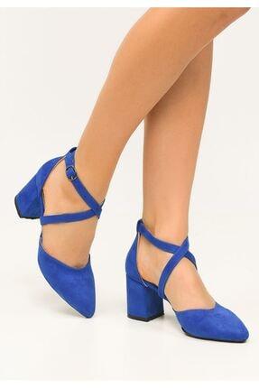Cadderoyal Kadın Sax Mavi Süet Topuklu Ayakkabı