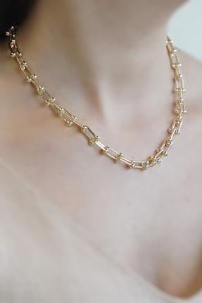 Marjin Kadın Blanca Model Zincirli Altın Renkli Kolye