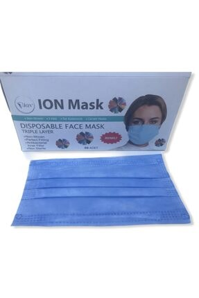 Ion Mask Mavi Telli Tek Kullanımlık Medikal Cerrahi Maske 50 X 2 = 100 Adet