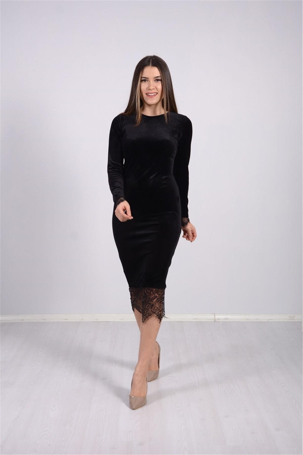 giyimmasalı Kadın Siyah Kadife Kumaş Dantel Elbise 1