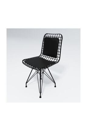 Kenzlife Kafes Tel Sandalyesi 1 li Siyah Sırt Minderli Ofis Bahçe Mutfak