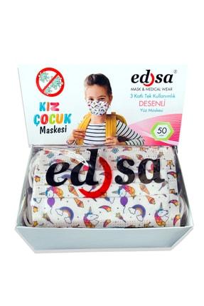 EDSA 3-14 Yaş Kız Çocuk 3 Katlı Meltblownlu Desenli Telli Tek Kullanımlık Koruyucu Yüz Maskesi