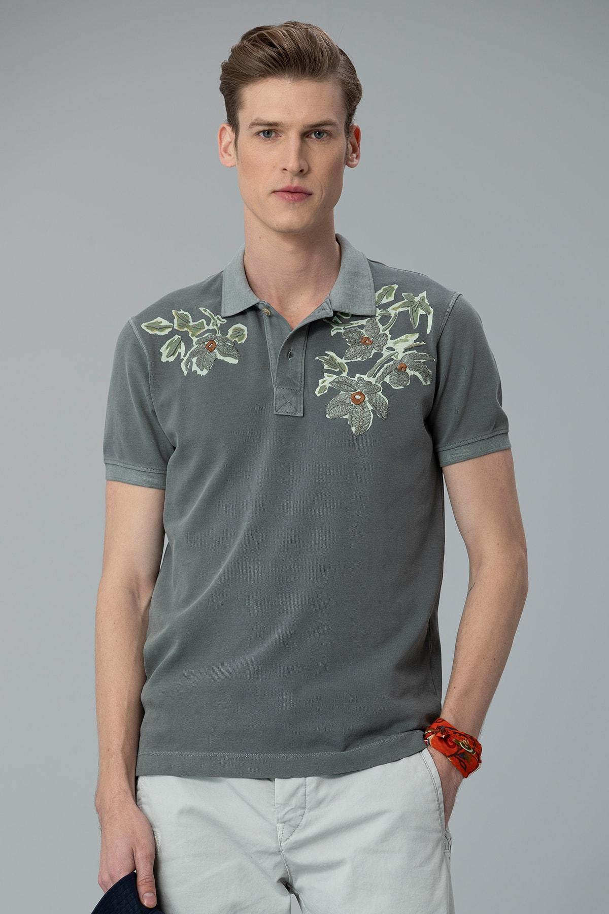 Lufian Forli Spor Polo T- Shirt Haki