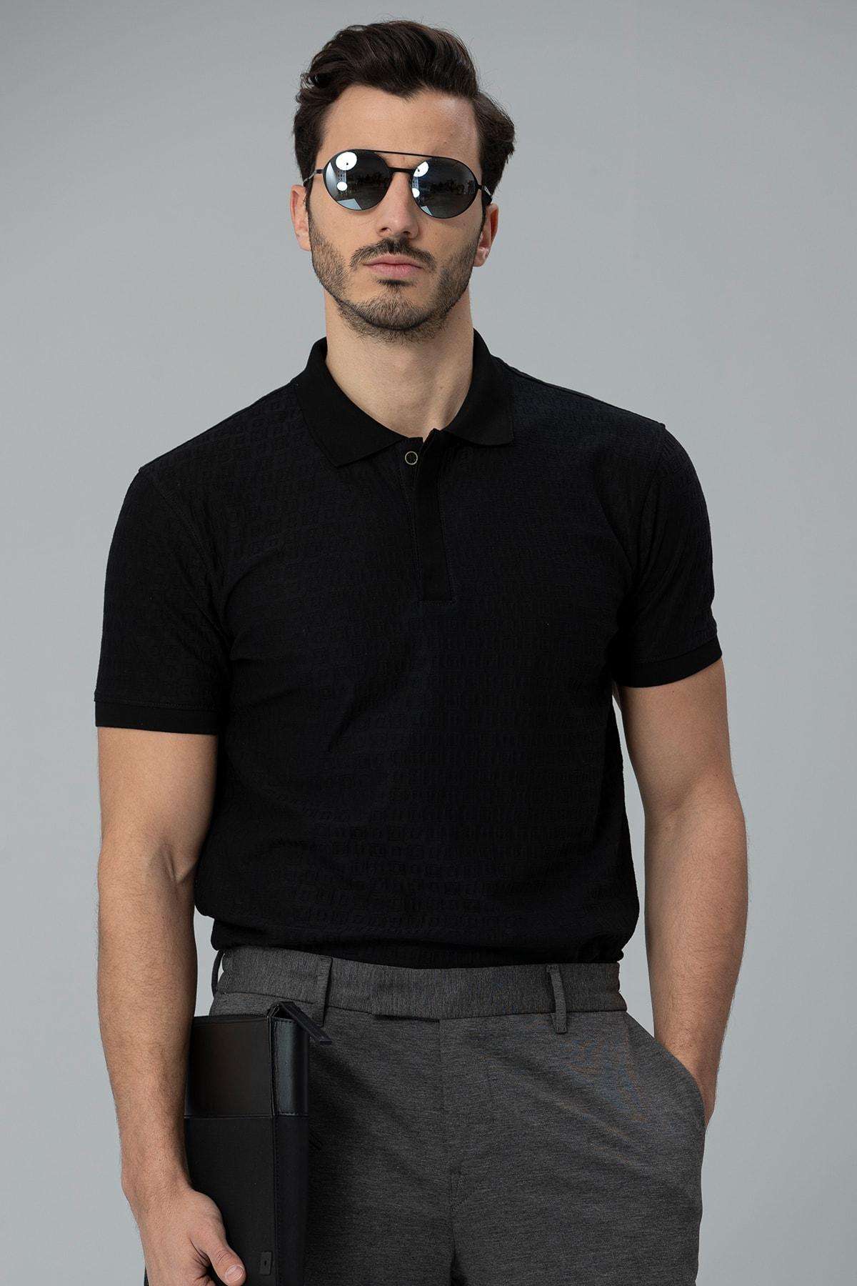 Lufian Perm Spor Polo T- Shirt Siyah