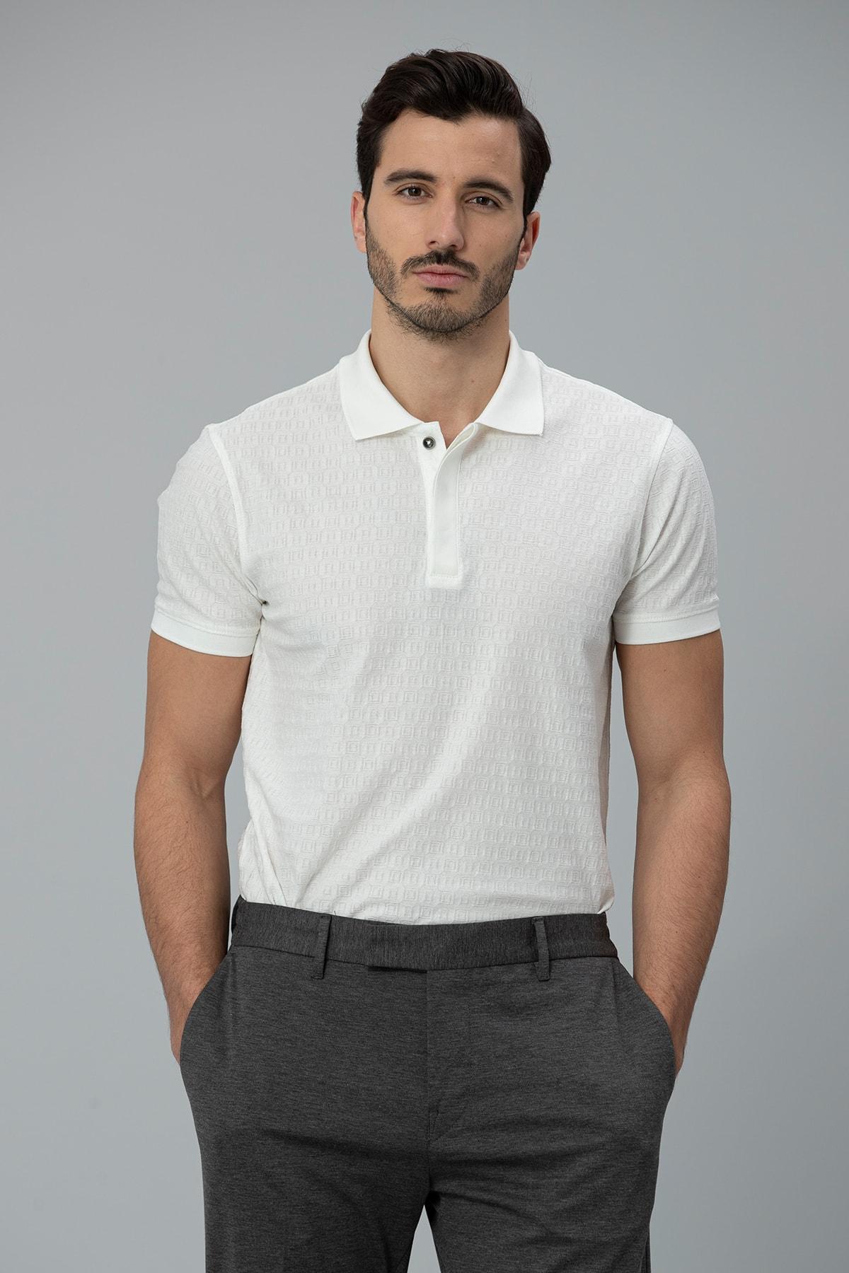 Lufian Clar Spor Polo T- Shirt Kırık Beyaz