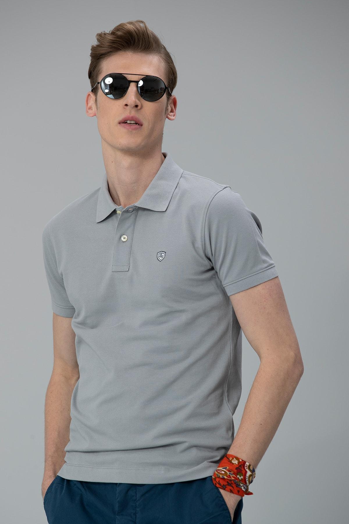 Lufian Laon Spor Polo T- Shirt Gri