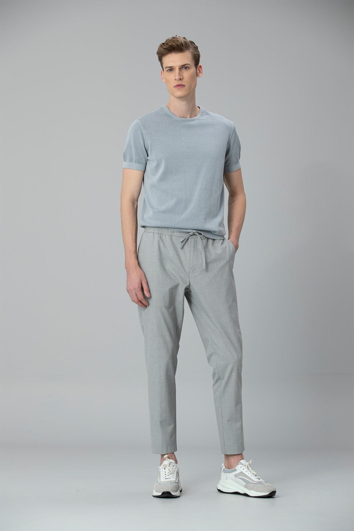 Lufian Buta Spor Chino Pantolon Tailored Fit Gri