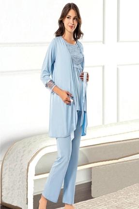 TAMPAP Kadın Mavi   3'lü Emzirme Detaylı Uzun Kollu Lohusa Pijama  Gecelik Takımı  3845