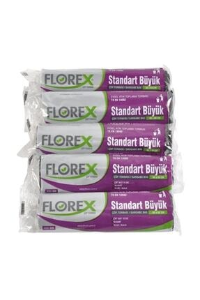 Florex Standart Büyük Çöp Torbası Siyah 65 X 80 Cm 5 Rulo