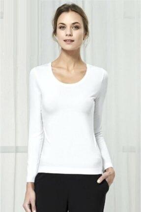 SEASOUL Kadın Beyaz Antibakteriyel Bambu Uzun Kollu T-shirt Ss-1538