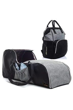 USF Portbebe Ana Kucağı Puset Bebek Taşıma  Anne Bebek Bakım Çantası Ikili Set Gri-siyah
