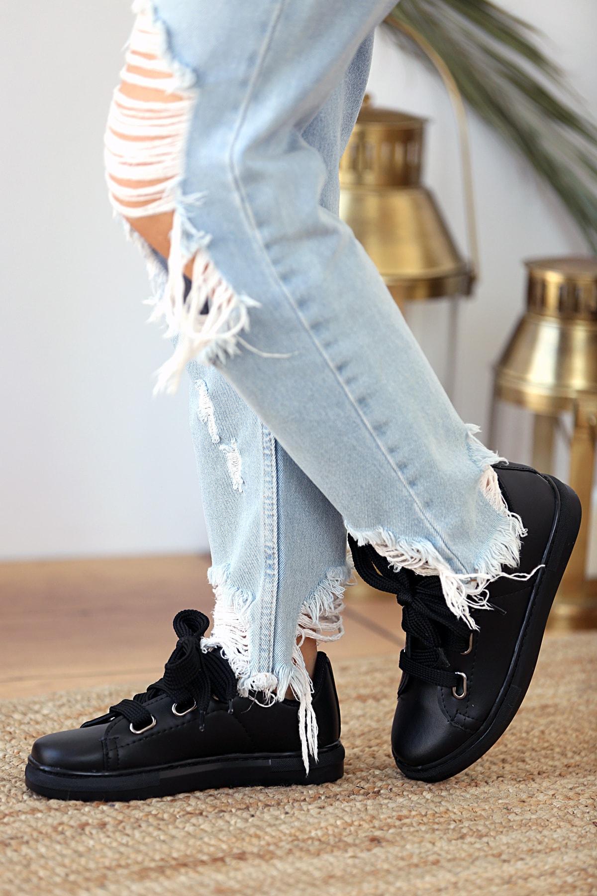 Pembe Potin Kadın Siyah Ayakkabı 2