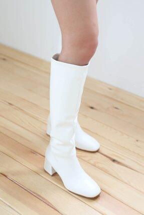 STRASWANS Kadın Beyaz Onika Küt Burun Deri Çizme