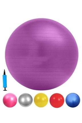 Liggo 65 cm Pilates Topu Pompalı Karışık Renk