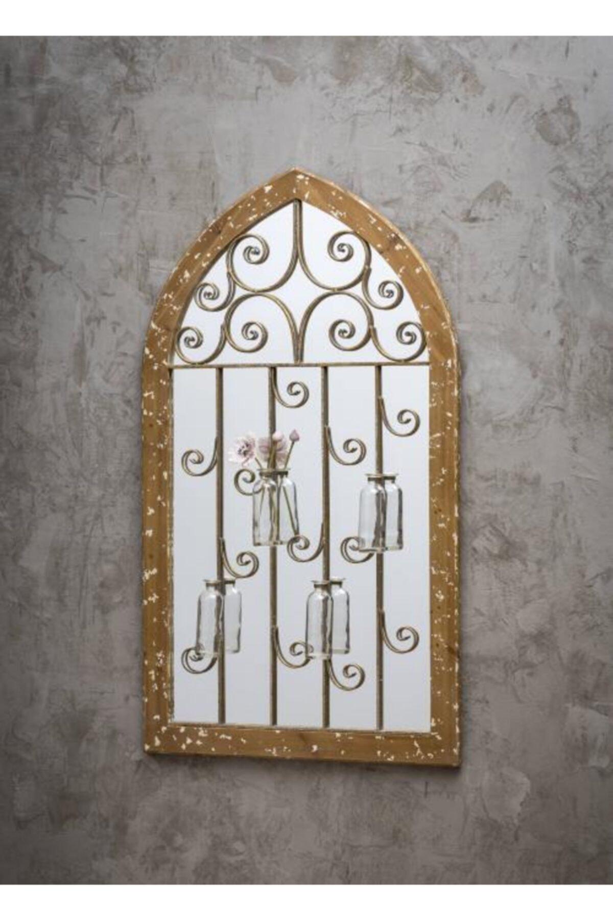 Warm Design Çiçeklik Dekorlu Köknar Duvar Aynası 2