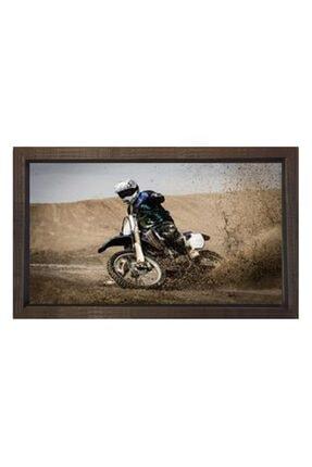 Deniz Çerçeve & Tuval Bej Motorsiklet Yarışı Tablosu Çerçevesiz 50x70