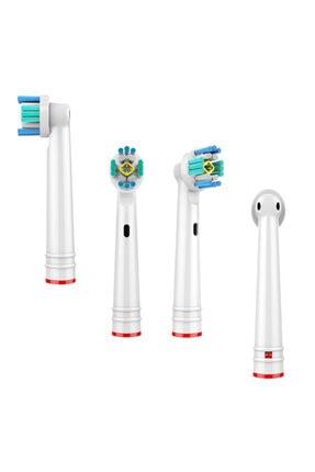 Kyver Oral-b Uyumlu 3d White 4'lü Dış Fırçası Yedek Başlığı