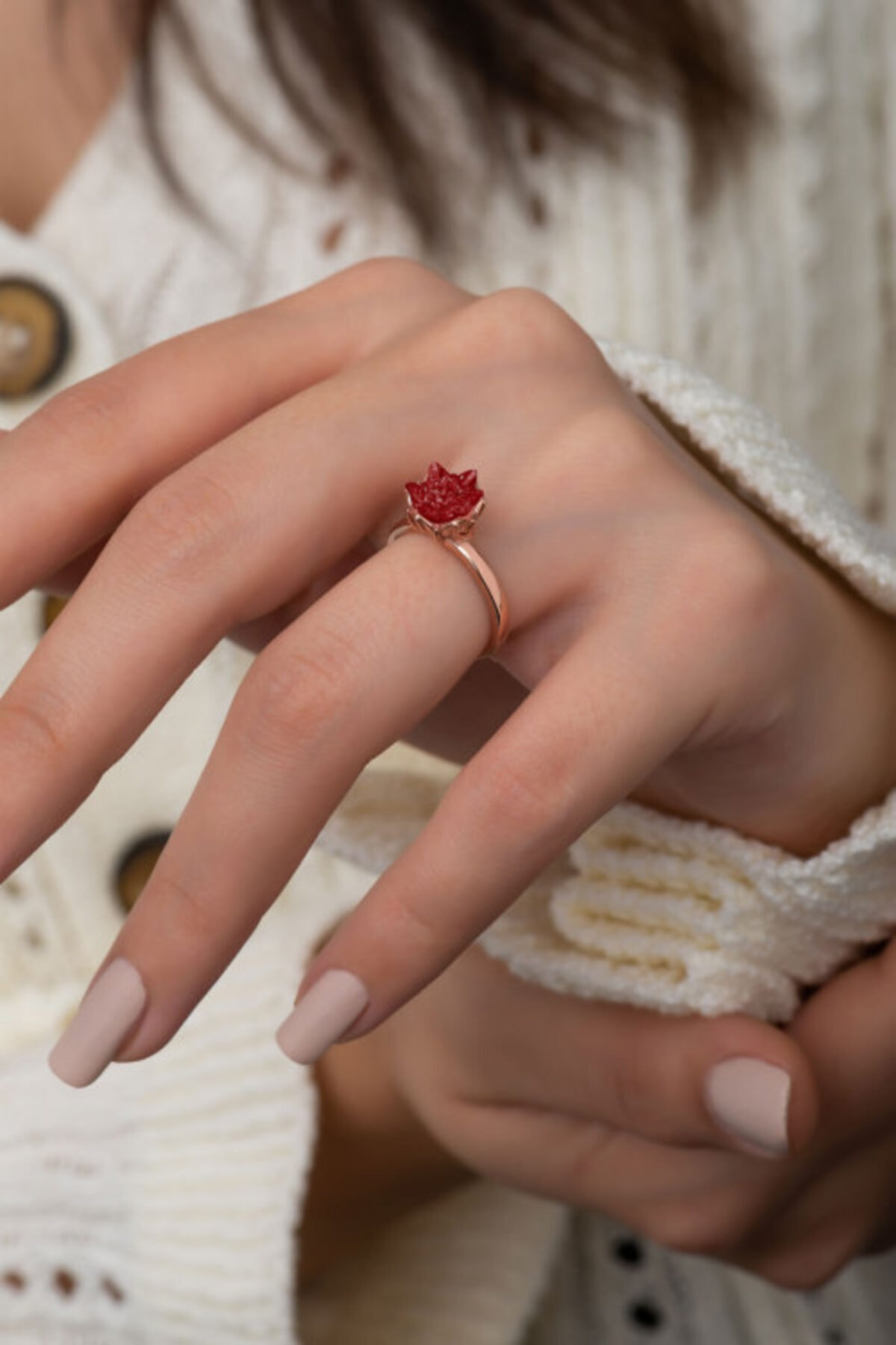 Ervanur Rose Altın Kaplama Kırmızı Zirkon Taşlı Lotus Çiçeği Kadın Yüzük 2