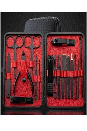 EBRTECH Çantalı Paslanmaz Çelik Manikür + Pedikür Set 18 Parça El Ayak Tırnak Makası Seti