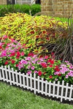 moniev Çit Bahçe Çiti Dekoratif Plastik Bahçe Çiti Peyzaj Koruma Beyaz