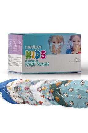Sabomar Medizer Full Ultrasonik Cerrahi Erkek Çocuk Maskesi 50 Adet - Burun Telli- 10'ar Adet 5 Farklı Desen