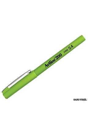 artline 200 Fineliner 0.4mm Ince Uçlu Yazı Ve Çizim Kalemi Sarımsı Yeşil