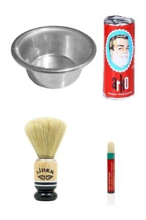 Hellove Kalem Kantaşı Hediyeli Tıraş Seti Arko Sabun Köpürtme Tası Traş Fırçası