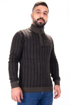 Twister Jeans Erkek Haki Siyah Dik Yaka Fermuarlı Triko Kazak