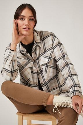 Happiness İst. Kadın Krem Kareli Yünlü Ceket Gömlek DD00744