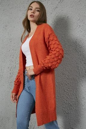 Sateen Kadın Turuncu Kolları Örgü Desenli Uzun Hırka