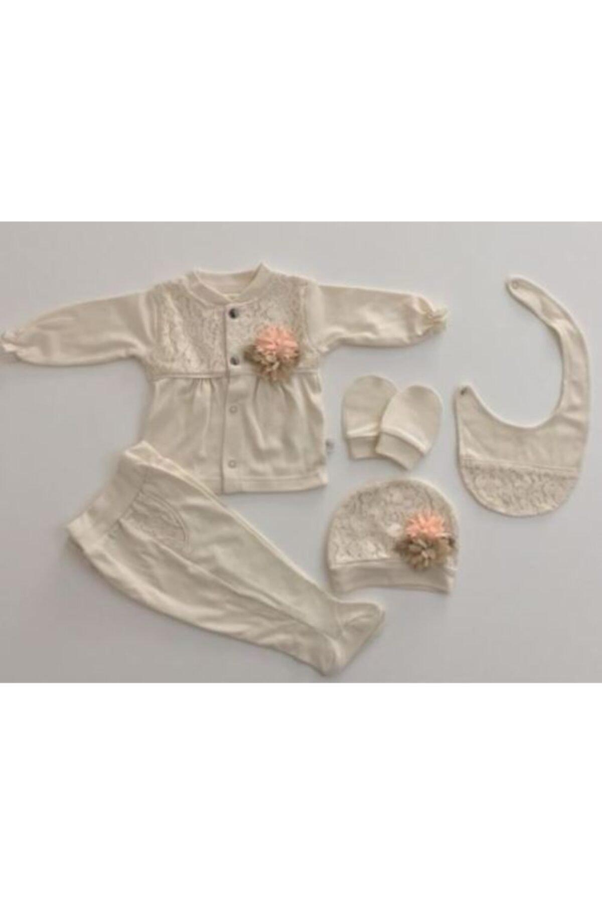 Bebbemini Naturel Güpürlü 5li Kız Bebek Hastane Çıkışı Somon 2