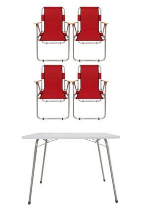 Tedarikcenter 4 Adet Ahşap Kollu Kamp Sandalyesi 1 Adet 80x60 Cm Katlanır Masa