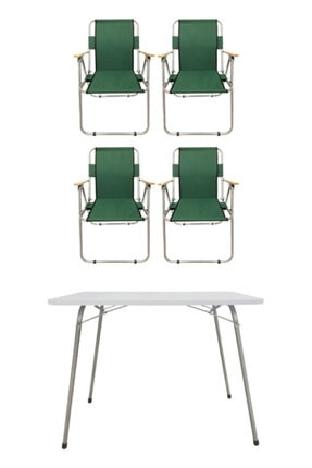 Tedarikcenter 4 Adet Ahşap Kollu Kamp Sandalyesi 1 Adet 80x60 cm Katlanır Masa Yeşil