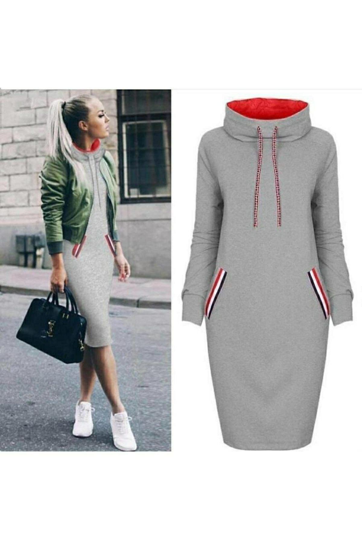 JANES Kadın Gri Cep Detay Geniş Balıkçı Yaka İki Iplik Kumaş Elbise 90cm 1