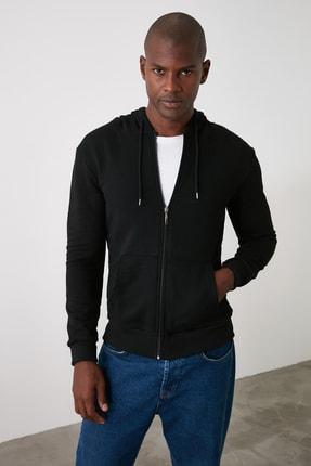 TRENDYOL MAN Siyah Erkek Basic Kapüşonlu Fermuarlı Sweatshirt TMNAW20SW0262