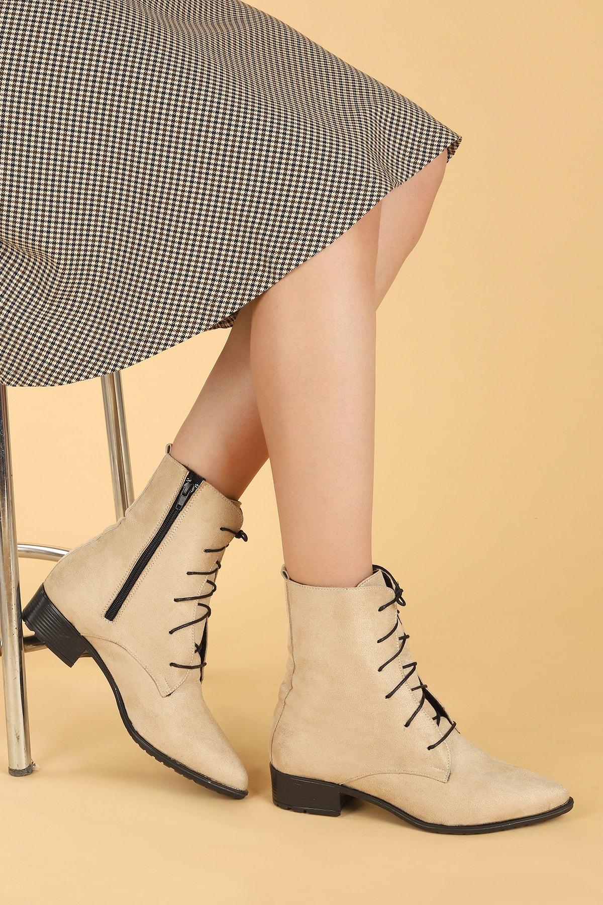 Ayakland 007-01 Süet Bağcıklı Termo Taban Bayan Bot Ayakkabı 1