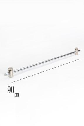 VENTİ PERDE 90 Cm Metalik Gri Rustik 1 Adet Briz Çubuk 2 Adet Başlık