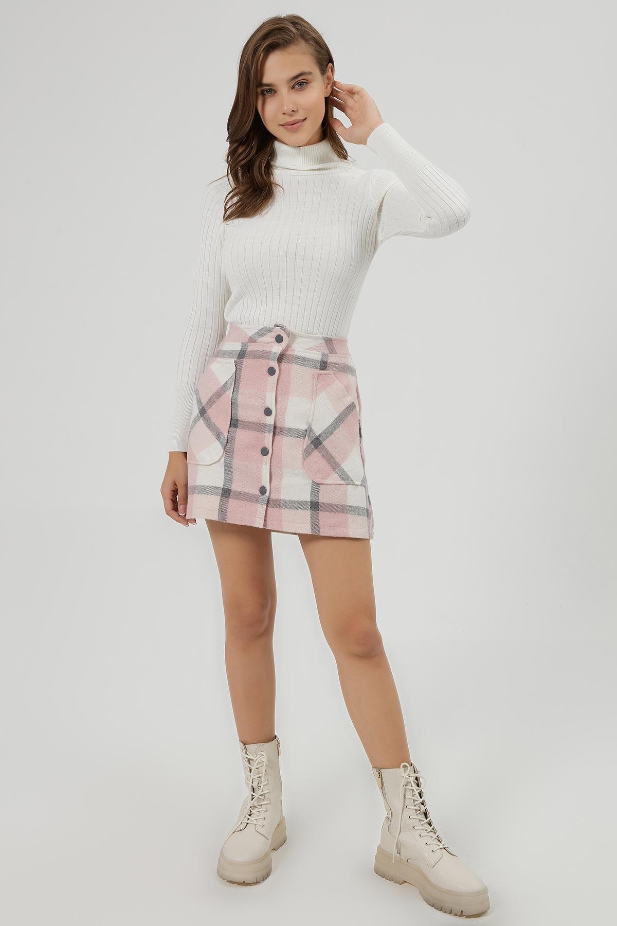 Y-London Kadın Pembe Beyaz Ekoseli Cep Detaylı Mini Etek Y20W166-4018 1