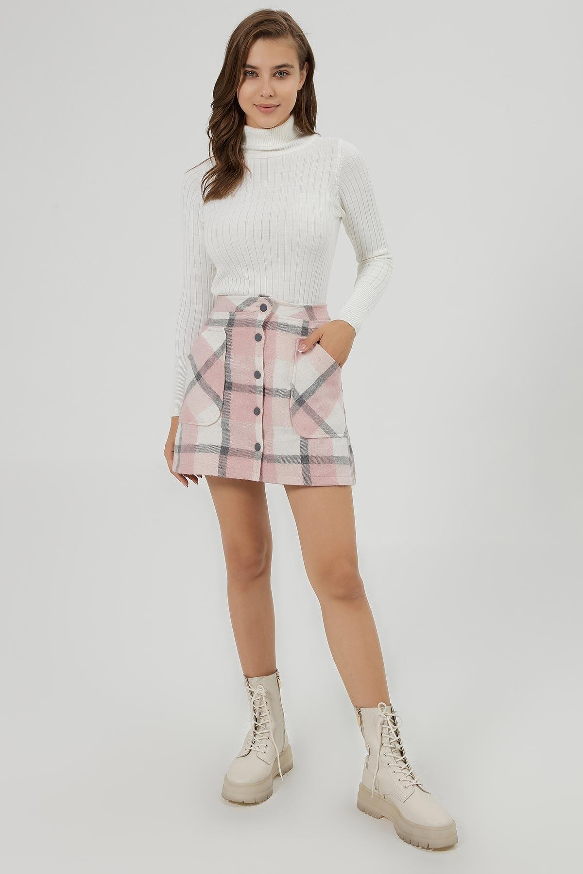 Y-London Kadın Pembe Beyaz Ekoseli Cep Detaylı Mini Etek Y20W166-4018 2