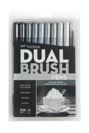 Tombow  Dual Brush Pen 10 Renk Set Grayscale