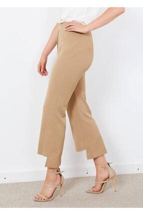 Adze Kadın Bej Bel Lastikli Paça Detaylı Pantalon Bej