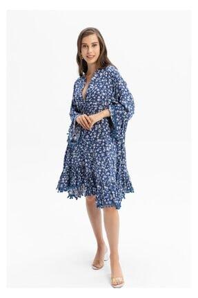TIFFANY&TOMATO Kadın Lacivert Ponponlu Çicekli Elbise