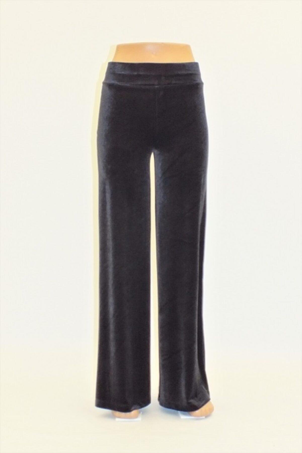 Otto Kadın Füme  Düz Kadife Geniş Paça Pantolon 1
